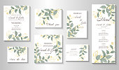 Wedding invitation with leaves, watercolor, isolated on white. Vector Watercolor.