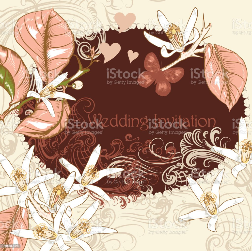 Wedding Invitation With Lemon Flowers In Pastel Pink Stock Vector ...
