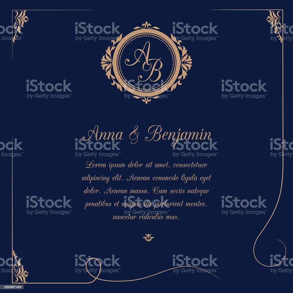 Hochzeit Einladung Mit Monogramm Lizenzfreies Hochzeit Einladung Mit  Monogramm Stock Vektor Art Und Mehr Bilder Von