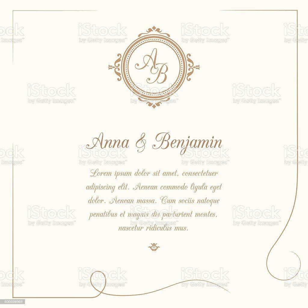 Fesselnd Hochzeit Einladung Mit Monogramm Lizenzfreies Hochzeit Einladung Mit  Monogramm Stock Vektor Art Und Mehr Bilder Von