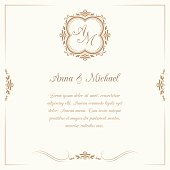 Wedding invitation with monogram