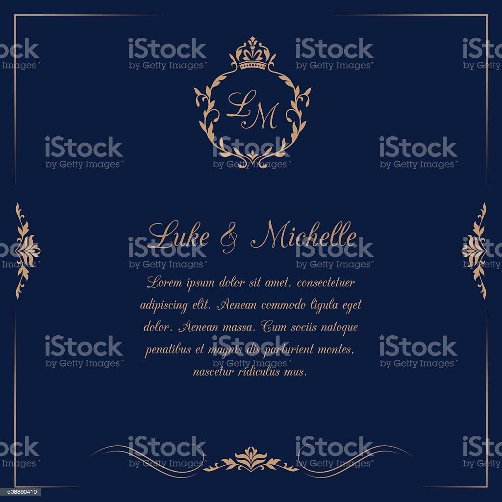 Wedding invitation with monogram vector art illustration