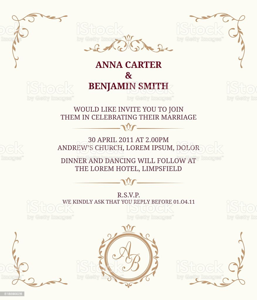 Hochzeit Einladung Mit Monogramm Lizenzfreies Vektor Illustration