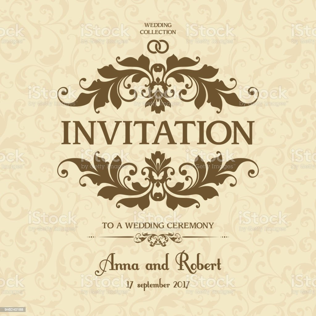 Wedding Invitation With Ornate Frame On Seamless Decor Pattern ...