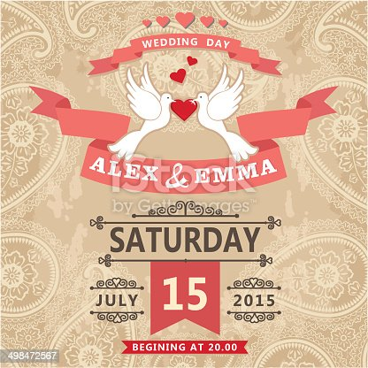 istock Wedding invitation with pigeon couple and paisley lace 498472567