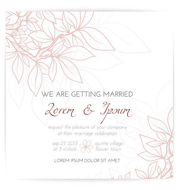 wedding invitation with pink leaves - wedding invitation stock illustrations, clip art, cartoons, & icons