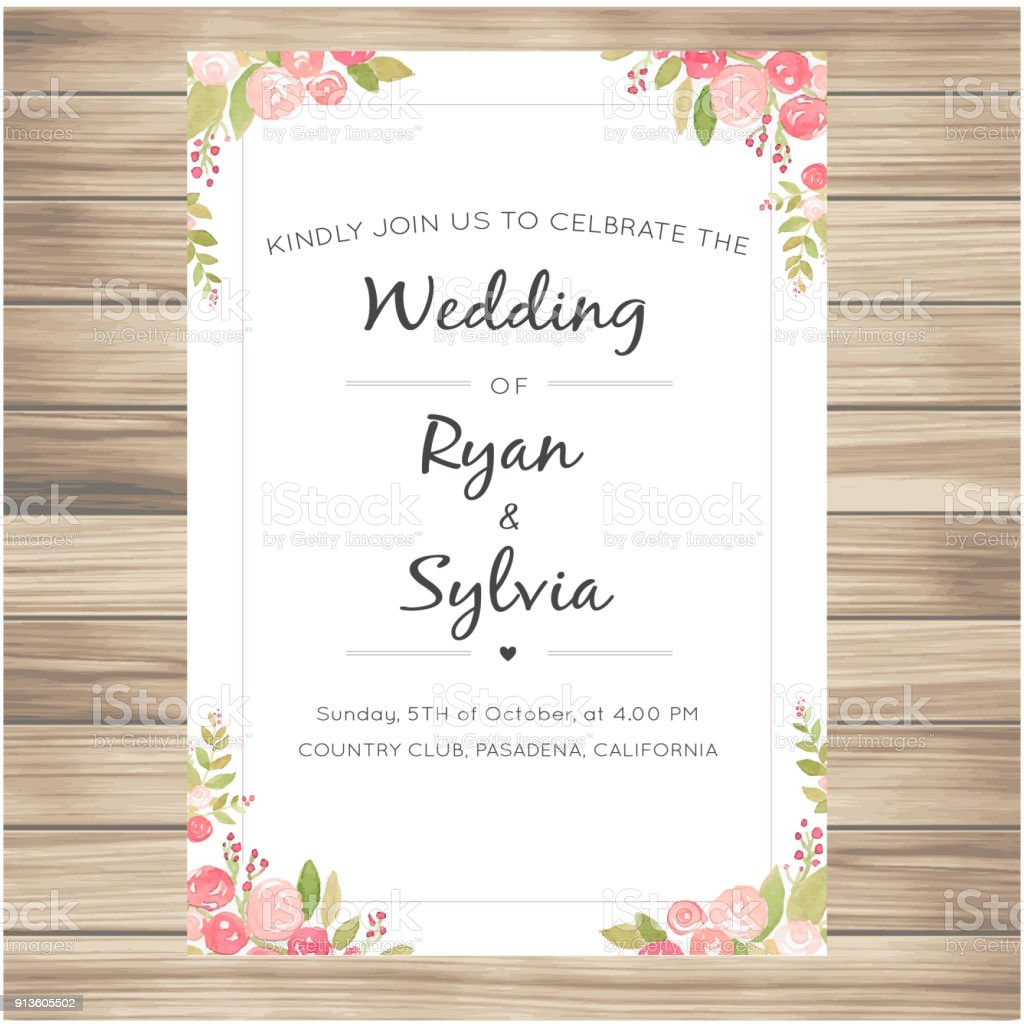 Wedding Invitation With Pink Roses Vanilla Background Vector Image ...