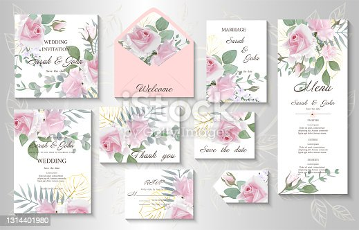 istock Wedding invitation with realistic bouquets Rose flower. 1314401980