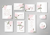 istock Wedding invitation with Rose flower, watercolor, isolated on white. 1170517822