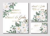 Wedding invitation with Rose flower, watercolor, isolated on white.  Vector Watercolour.