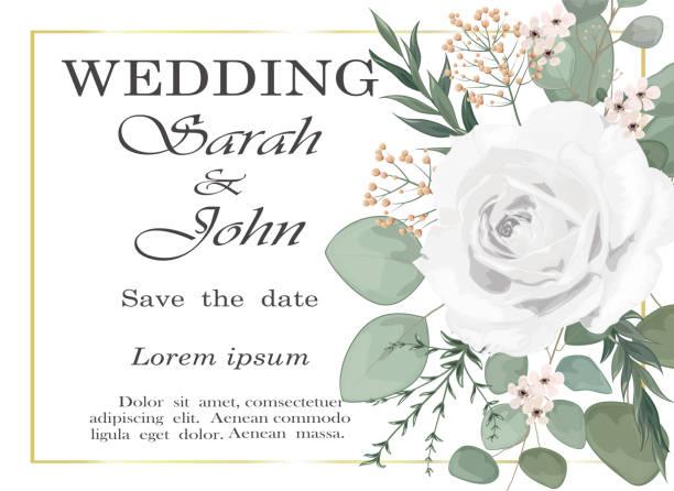 bildbanksillustrationer, clip art samt tecknat material och ikoner med bröllopsinbjudan med rosa blommor och blad isolerade på vitt. - white roses