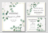 Wedding invitation with rose flowers and leaves isolated on white.