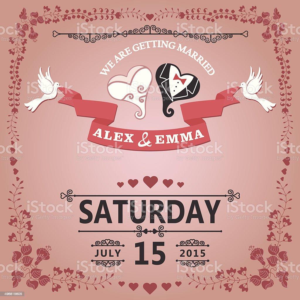 Hochzeit Einladung Mit Stilisierten Herzen Und Florale Rahmen Lizenzfreies Hochzeit  Einladung Mit Stilisierten Herzen Und Florale