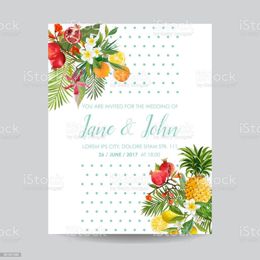 vetores de convite de casamento com flores e frutas