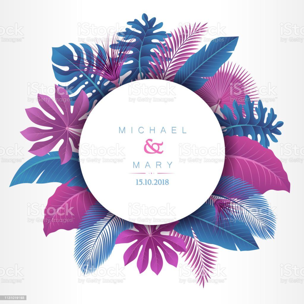 Wedding invitation with Tropical Leaves concept vector art illustration