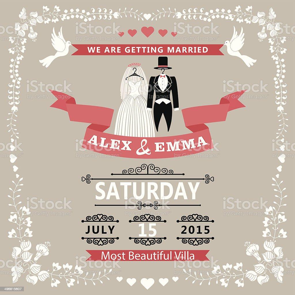 Hochzeit Einladung Mit Hochzeit Kleidung Und Floralen Rahmen Lizenzfreies Hochzeit  Einladung Mit Hochzeit Kleidung Und Floralen