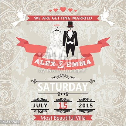 istock Wedding invitation with wedding dress and paisley lace 498472659
