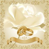 Wedding invitation with white rose and gold rings with diamonds. Files include: Illustrator CS5, Illustrator 8.0 eps, SVG 1.1, pdf 1.5, JPEG 300 dpi, organized by layers,easy to edit.