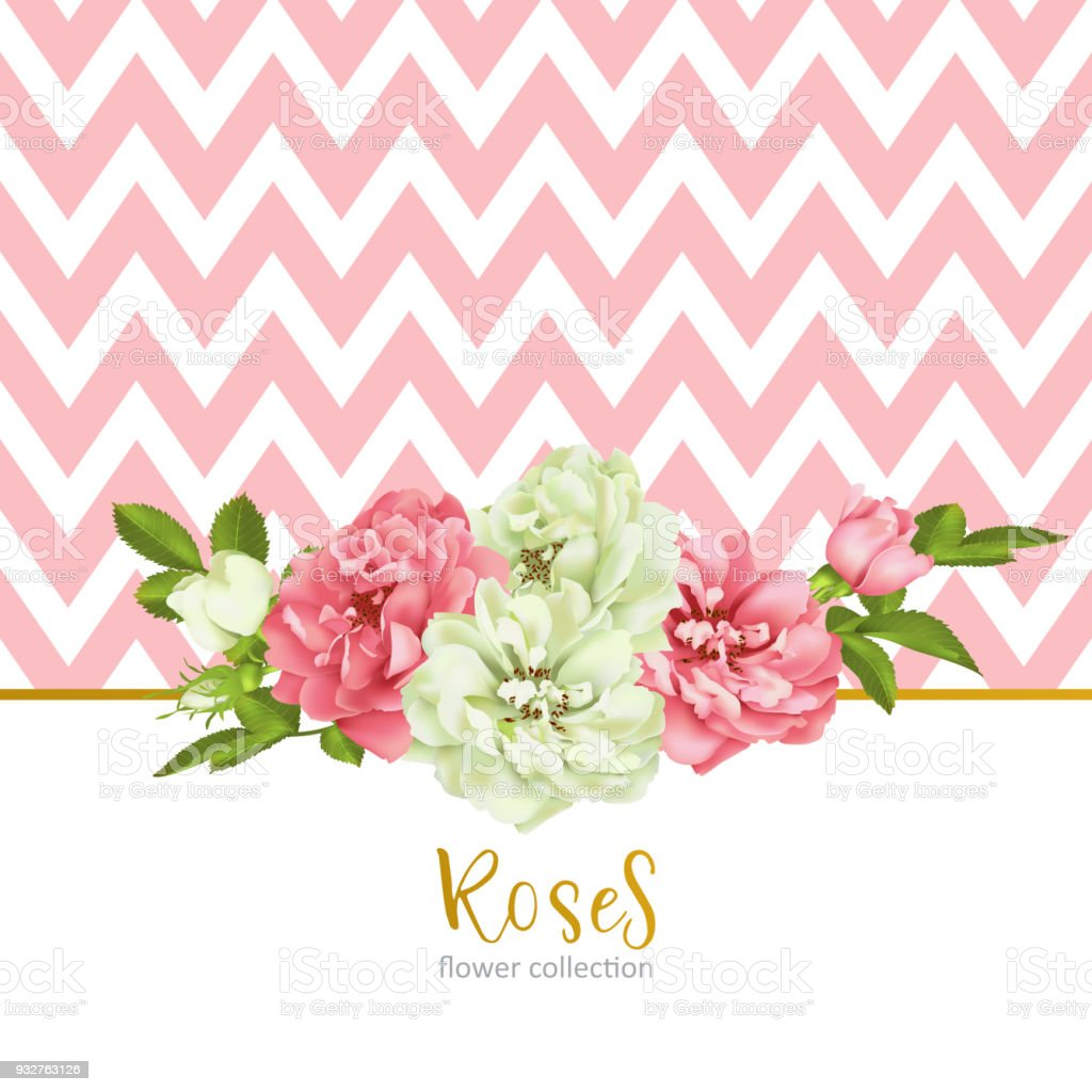 Wedding Invitation With Wild Rose Flowers Stock Vector Art & More ...