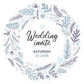 Blue wedding invitation wreath pattern background