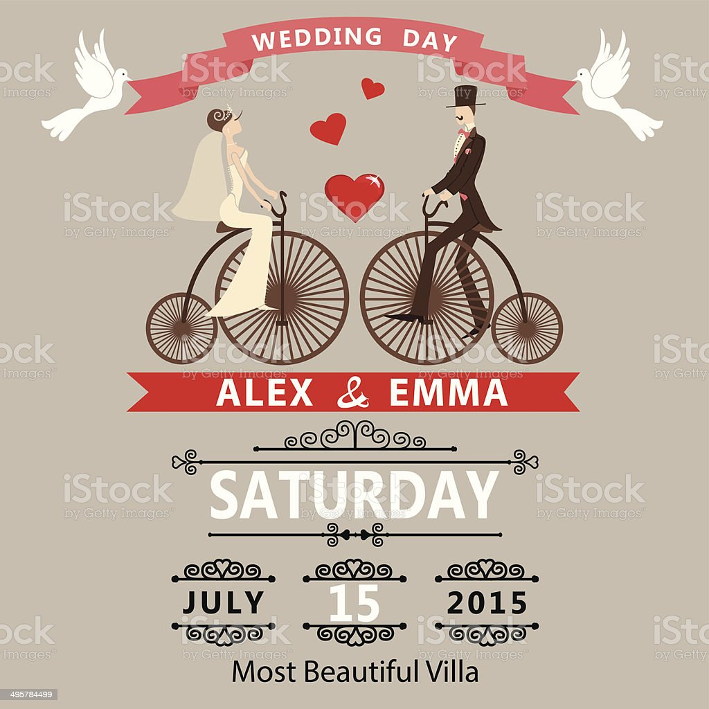 Wedding invitation.Cartoon bride groom on retro bike vector art illustration