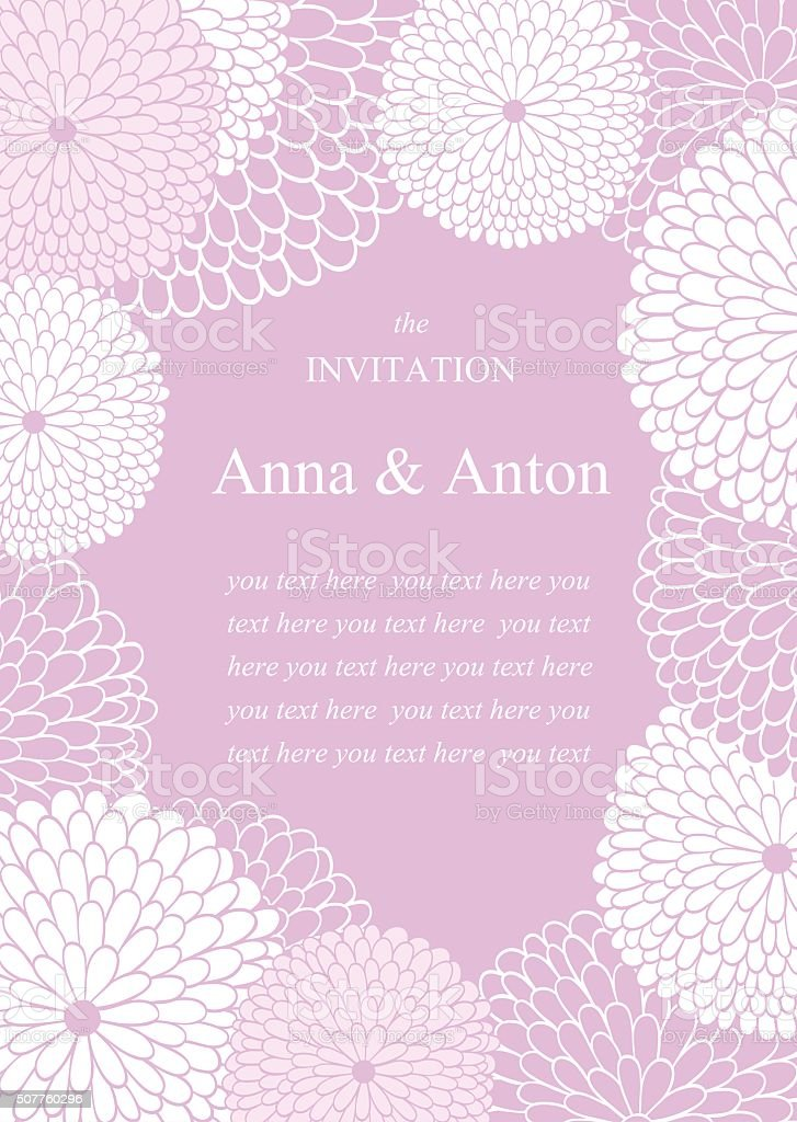 Wedding invitation.Floral romantic vector background in violet. vector art illustration