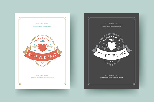 Wedding invitations save the date cards design vector illustration