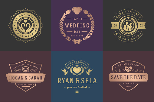 Wedding invitations save the date logos and badges vector elegant templates set