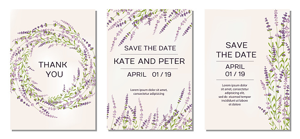 Wedding invitations set with lavender flowers on background
