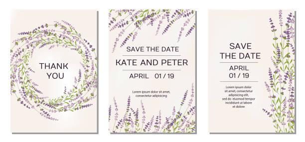 illustrazioni stock, clip art, cartoni animati e icone di tendenza di inviti di nozze set con fiori di lavanda sullo sfondo - colore lavanda