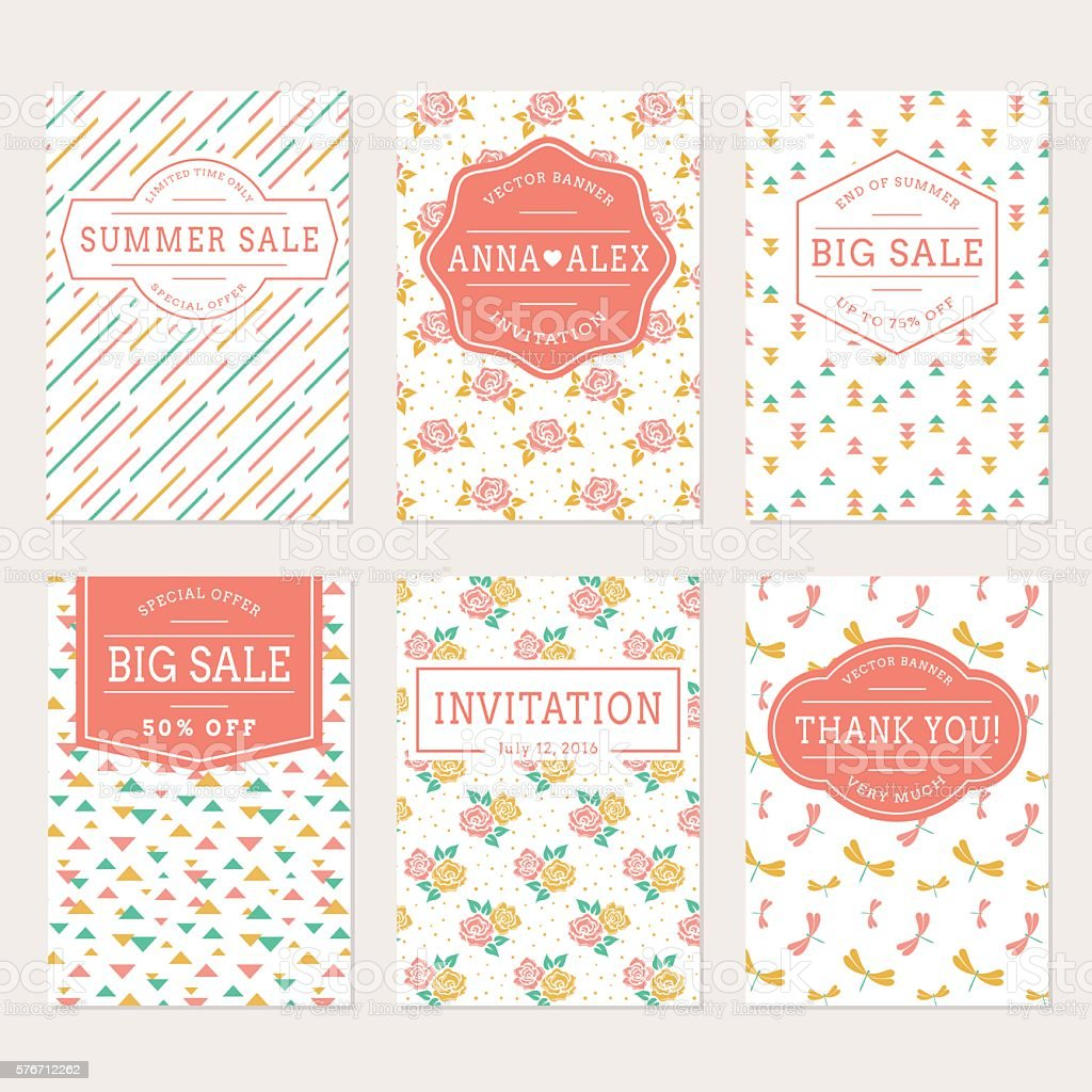 Wedding Invitations Thank You Card And Sale Labels Stock Vector Art ...