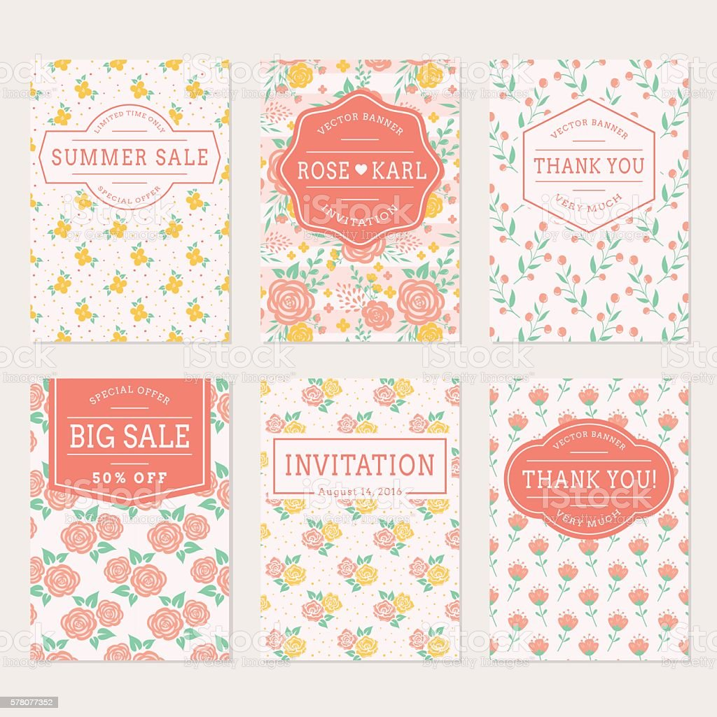Wedding Invitations Thank You Cards And Sale Labels stock vector art ...