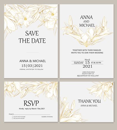 Wedding invitations. Vector invitation cards with golden plants on a gray background. Plants in the style of line art.