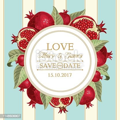 Wedding invitations with pomegranate and leaves. Vector illustration.