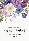 Wedding invitations with summer flowers.