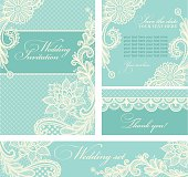 Wedding invitations with vintage lace background.