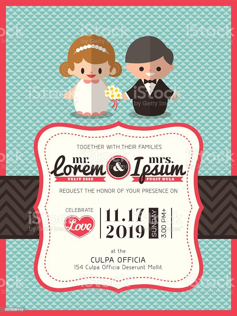 wedding invite card template with groom and bride cartoon icon royalty-free stock vector art