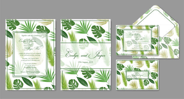 wedding invite, envelope, rsvp, holiday card. design with green palm leaves on a white background and frames in summer style. vector - jungle stock illustrations