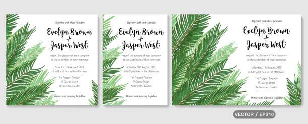 wedding invite invitation menu card vector floral greenery design: sago palm leaves foliage greenery frame pattern. postcard, poster label. watercolor elegant hand drawn set - jungle stock illustrations