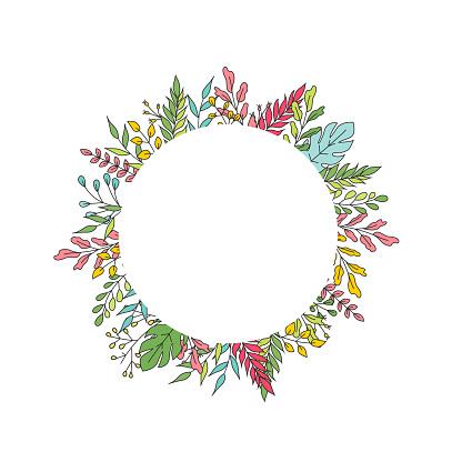 Wedding invite, round ellipse invitation card vector floral greenery design: , branch green leaves, foliage herb.