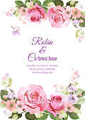 Wedding invite with bouquet of roses, spring blossom. Card with red, mauve, pink flowers, buds, green leaves on white background. Illustration in watercolor style, vintage, vector, A4
