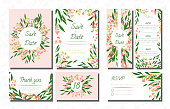 Wedding Card Templates Set with Eucalyptus. Vector Decorative Invitation with Leaves, Floral and Herbs Garland. Menu, Rsvp, Label, Invite with Nature Wreath. Hand Drawn Wedding Cards Design Isolated.
