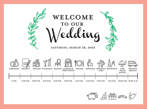 Wedding itinerary event timeline poster with wedding icons