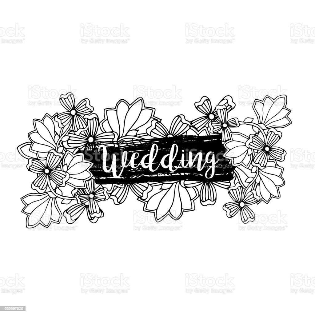 Wedding label design with inscription and doodles royalty-free wedding label design with inscription and doodles stock vector art & more images of arts culture and entertainment