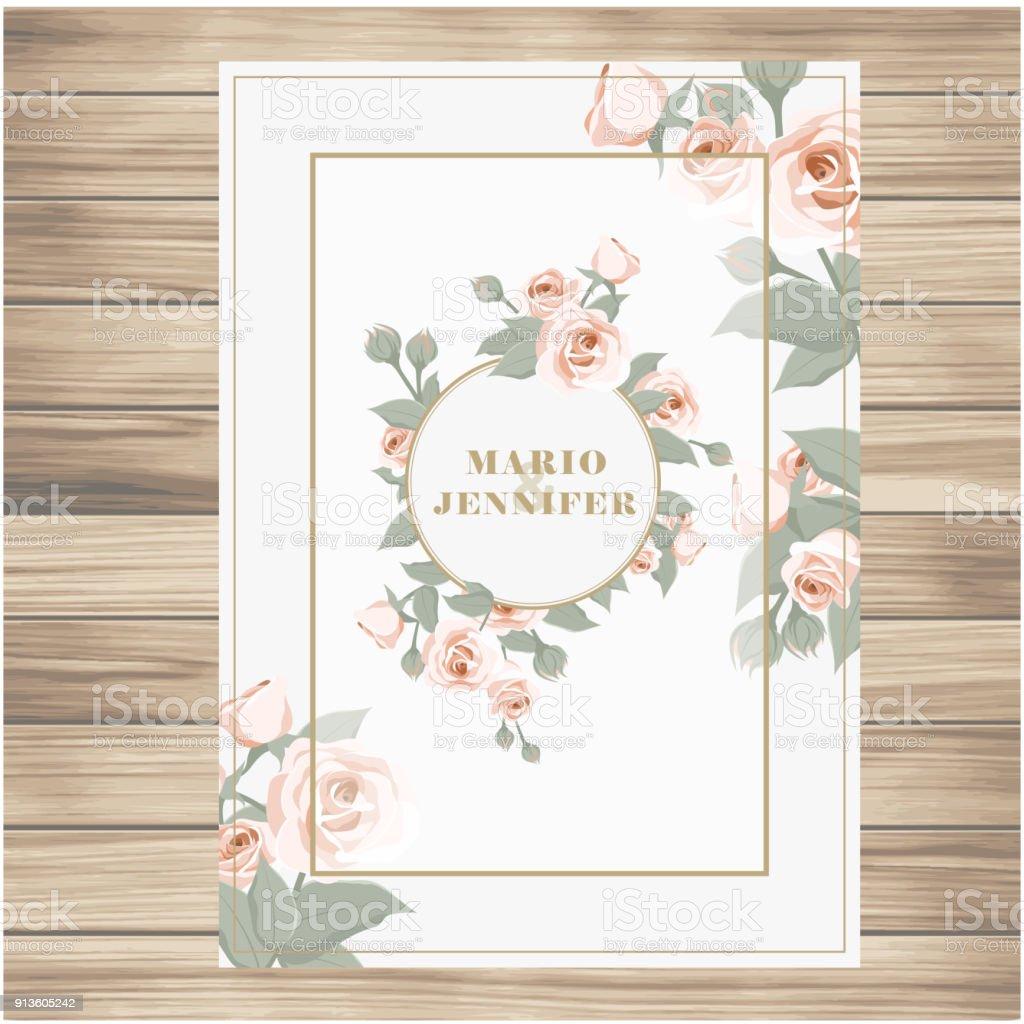 Hochzeit Etikett Rosa Rosen Vanille Vektor Hintergrundbild Stock