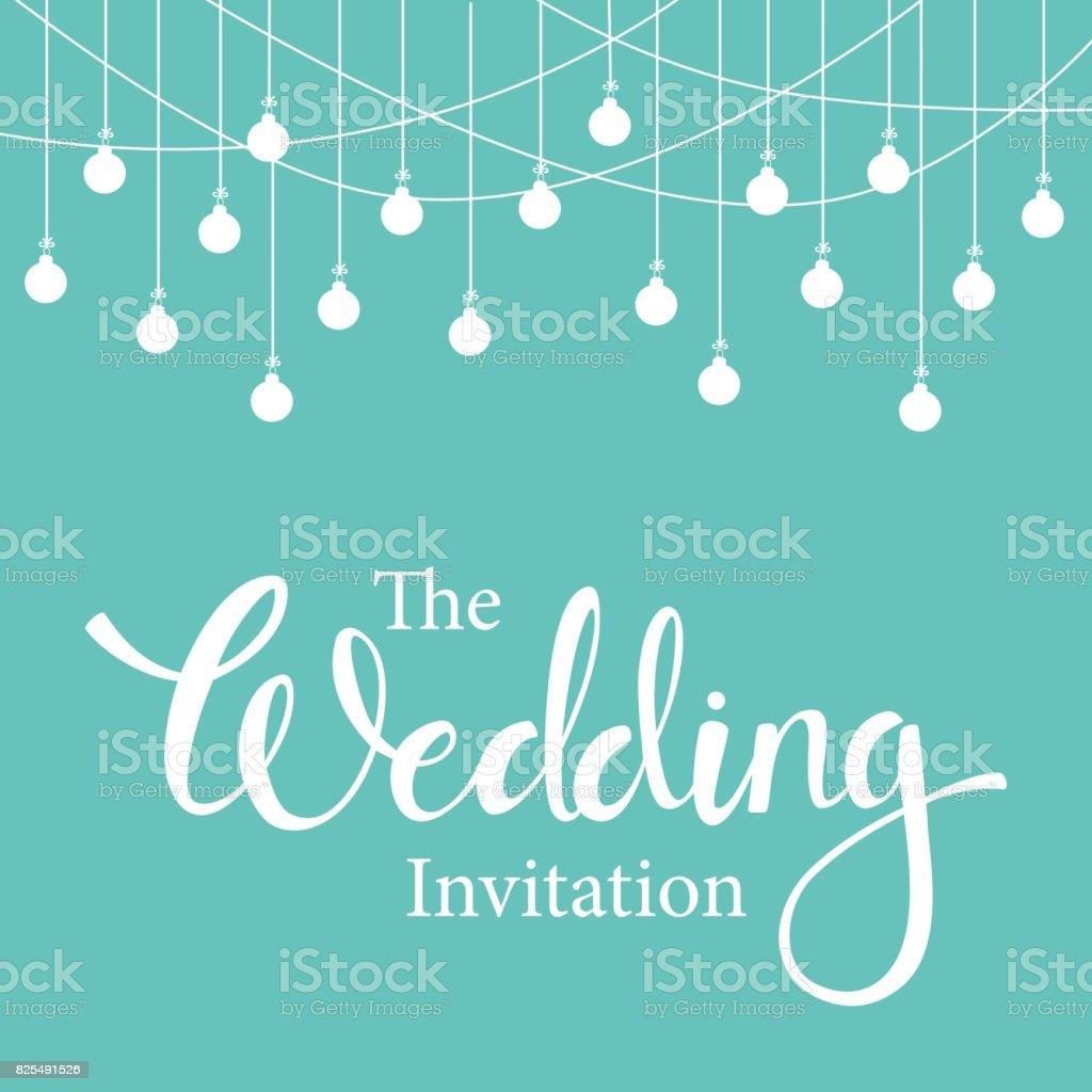 Außergewöhnlich Hochzeit Schriftzug Einladung Vintage Hintergrundvorlage Hängende Lampe  Girlanden In Minze Und Weißen Farben Lizenzfreies Hochzeitschriftzug