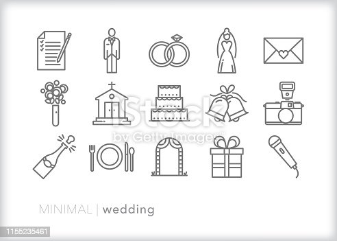 Set of 15 wedding line icons for the celebration of a new marriage, including bride, groom, church, rings, invitation, bouquet, wedding cake, bells, camera, champagne, table setting, pergola arch, registry gift and microphone