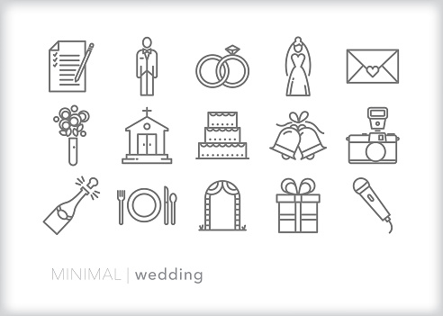 Wedding line icon set