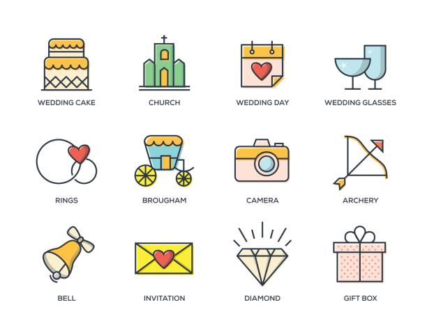 hochzeit-linie-icon-set - kirchenring stock-grafiken, -clipart, -cartoons und -symbole