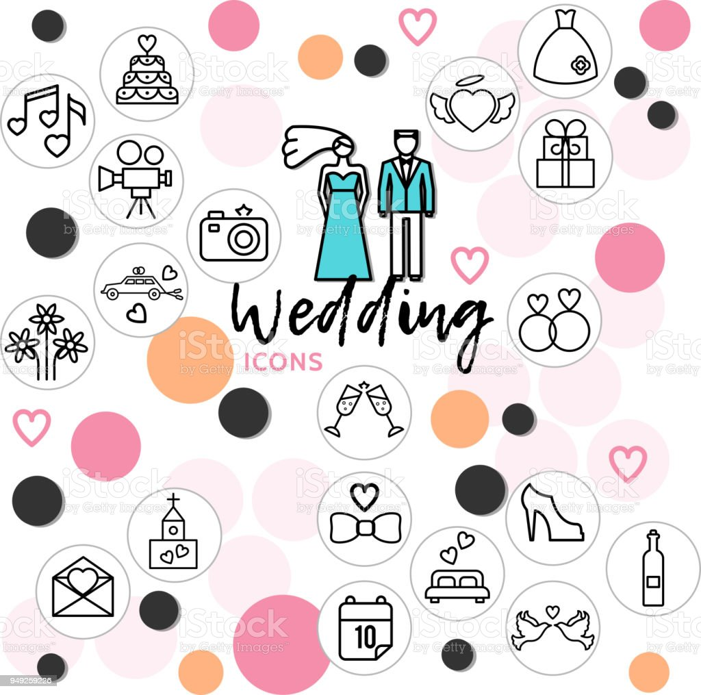 Wedding Line Icons Collection vector art illustration